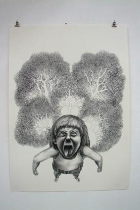 """""""o.T."""" / Federzeichnung / 70×50 cm"""