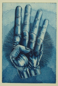 """Achtung"" / Aquatinta & Strichätzung / Motiv 10 x 15 cm / blau"