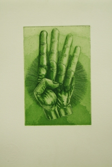 """Achtung"" / Aquatinta & Strichätzung / Motiv 10 x 15 cm / grün"