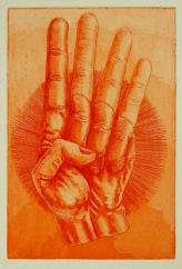 """""""Achtung"""" / Aquatinta & Strichätzung / Motiv 10 x 15 cm / orange"""