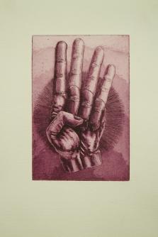 """Achtung"" / Aquatinta & Strichätzung / Motiv 10 x 15 cm / violett"