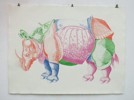 """""""Cover version (nach Albrecht Dürer); or The curvy unicorn"""" / 5farbige Tuschezeichnung/ 103×78 cm © Ramona Taterra 2017"""
