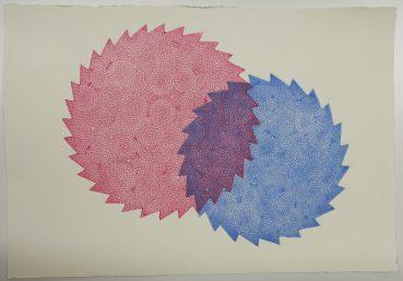 Strichätzung, zweifarbiger Testdruck mit 2 Kupferplatten